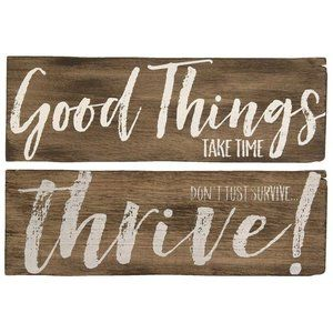Good Things Take Time Wall Sign, 2 Asst. Primitive